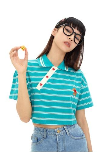 Twenty Eight Shoes Short Contrast Stripe T-shirt HH-N0018 08E63AAD97BF53GS_1