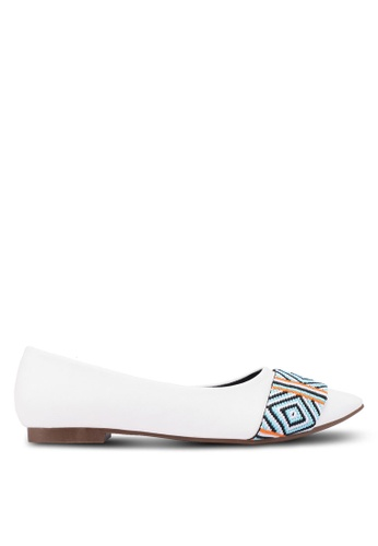 Nose white Band Pointed-Toe Flats 770E5SH8F8165EGS_1