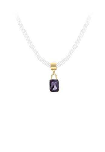 Glamorousky purple Elegant and Simple Geometric Cubic Zircon Pendant with Pearl Ball Necklace 10B39AC6DD1634GS_1