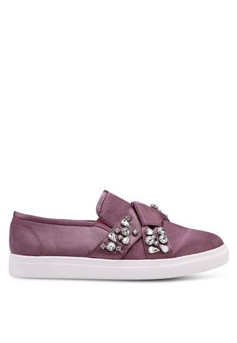 LOST INK 紫色 幾何鑽飾厚底懶人鞋 F579CSH89F0A94GS_1