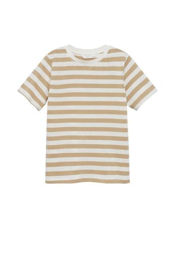 MANGO KIDS white Striped Cotton T-Shirt 3B87AKA73C40A4GS_1