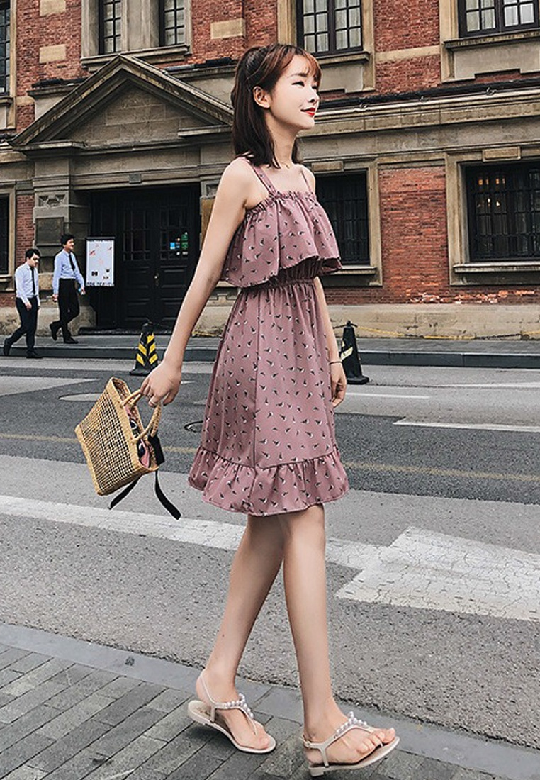 Multi 2018 New Strap Chiffon Piece One Sunnydaysweety A051651 Pattern Dress 4vwqzZ4a