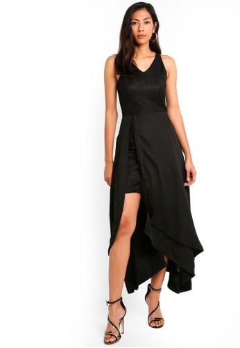 Megane black Red Romance Karlotta Asymmetric Long Dress 9971DAADDA86AAGS_1
