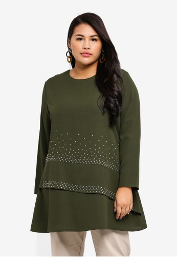 BYN green Plus Size Muslimah Blouse A695CAAC0AEBEBGS_1