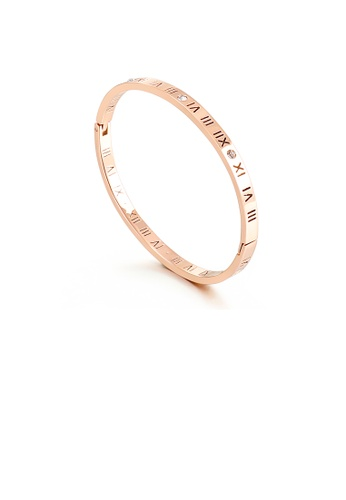 Glamorousky white Fashion Simple Plated Rose Gold Roman Numerals 316L Stainless Steel Bangle with Cubic Zirconia 5B629AC7A91996GS_1
