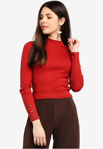 Cotton On red Letitia Button Detail Long Sleeve Top 0E0A3AA59E48F3GS_1