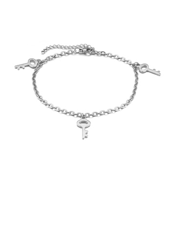 Glamorousky silver Fashion Simple Key 316L Stainless Steel Anklet F6EE8AC219B17DGS_1