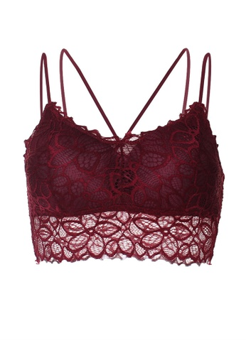 SMROCCO Women Strap Lace Bra Top Camisole TB9200 (Maroon) 8ED2AUSF1E7D29GS_1