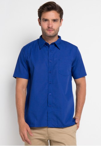 YEGE blue Short Sleeve Fil-Afil Shirt YE201AA0UOSTID_1