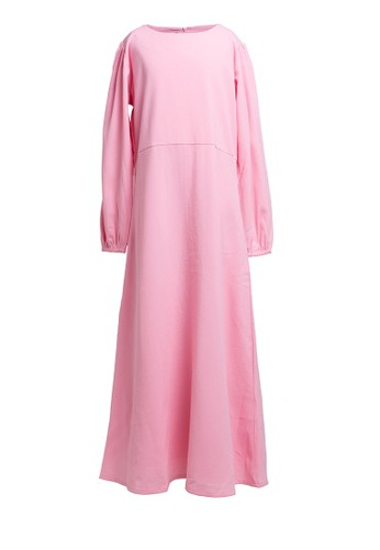Little Heart pink Baloon Sleeve Dress E3EA7KAD5F5C42GS_1