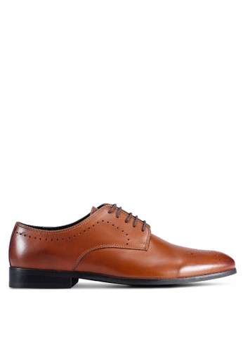 Burton Menswear London brown Tan Leather Derby Shoes With Brogue Detailing A9BA8SHEC38F85GS_1