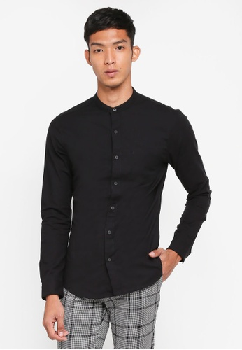 Topman black Black Muscle Fit Oxford Shirt 61A39AA8272520GS_1