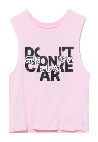 """Mini cream pink """"Don't Care"""" tank top 6894BAA7753B2AGS_1"""