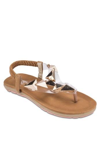 立體金esprit台灣網頁屬閃飾平底涼鞋, 女鞋, 涼鞋
