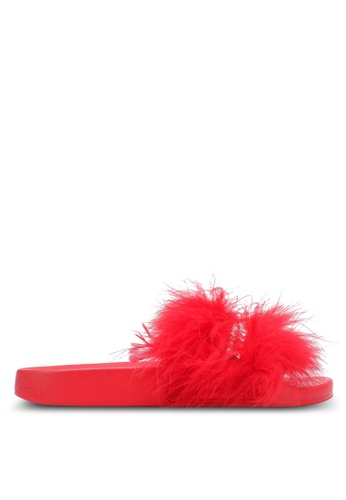 TOPSHOP red Hello Feather Sliders TO412SH0SHIJMY_1