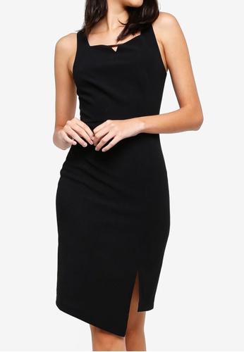 ZALORA black Notched Neck Dress C33D2AA5724401GS_1