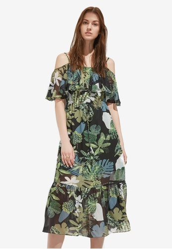 Hopeshow green and multi Floral Print Midi Dress AB72FAADED2C0CGS_1