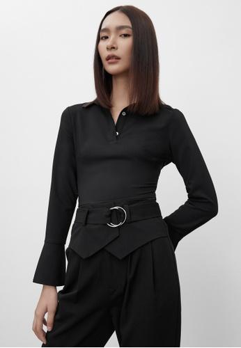 Pomelo black Polo Button Up Bodysuit - Black A54D7AA3ADD499GS_1