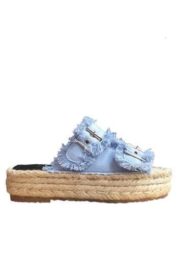 Twenty Eight Shoes 藍色 流蘇厚底拖鞋 VM8861 TW446SH70BJXHK_1