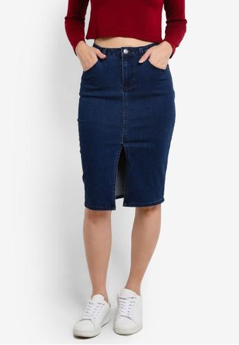 ZALORA blue Denim High Waisted Pencil Skirt With Central Slit FBB00ZZ977B2EBGS_1