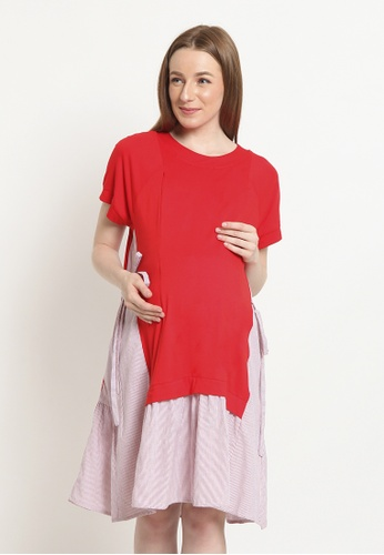 Chantilly red Maternity/Nursing Dress 3FF22AA205AEC3GS_1
