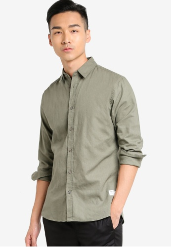 !Solid green Hakon Linen Shirt SO701AA73KCSMY_1