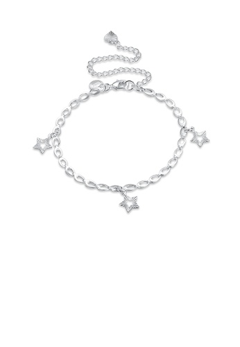 Glamorousky silver Fashion Simple Hollow Star Anklet B4DA3ACD80D963GS_1