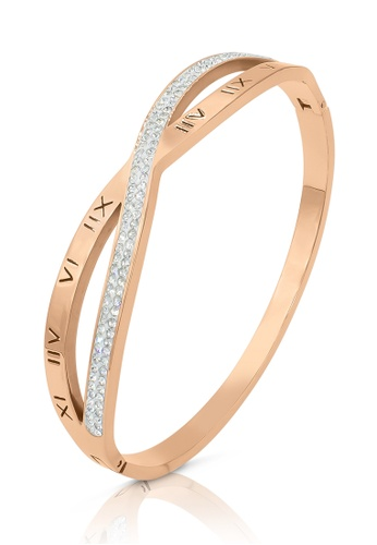 SO SEOUL gold Valeria Roman Numeral Intertwine with Austrian Crystal Rose Gold Hinged Bangle A1FD7AC68C760CGS_1
