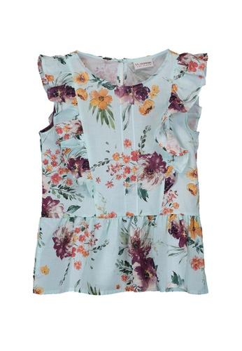 LC Waikiki green Girl's Floral Cotton Blouse 29471KA1976CD8GS_1