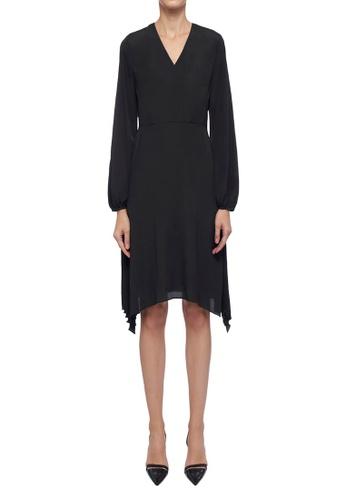ck Calvin Klein 黑色 輕薄裙側百摺綴飾連衣裙 3B074AA8972FA0GS_1