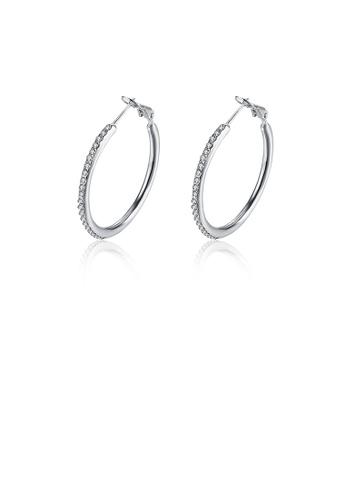 Glamorousky white Fashionable Simple Geometric Circle Earrings with Austrian Element Crystal 3DA2AAC164B842GS_1