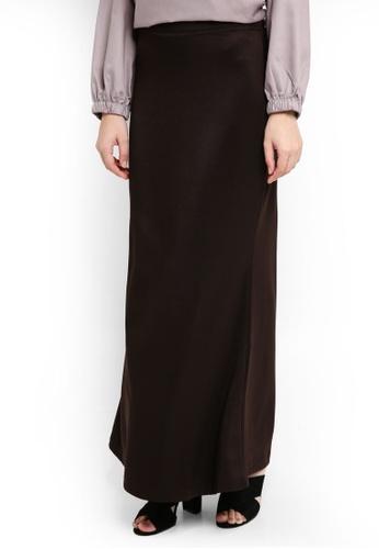 TOPGIRL brown Plain Stretchable Skirt A74BBAA92763B3GS_1