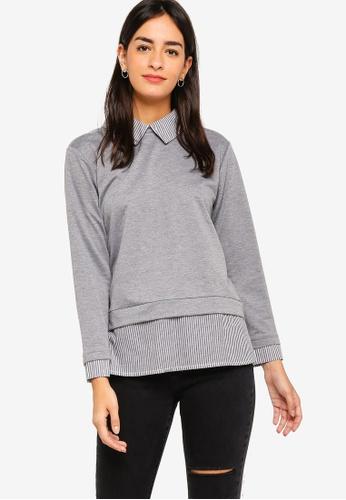 ZALORA grey Mixed Material Sweatshirt C8A42AAEE44D62GS_1