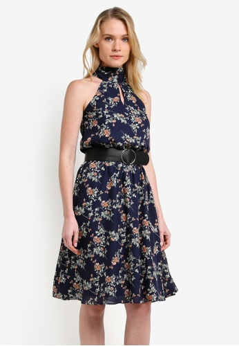 ZALORA navy Tie Neck Keyhole Midi Dress 57743AA9B0C8A2GS_1