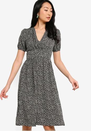 ZALORA BASICS multi Puffed Sleeves Overlap Dress 97857AA50B8619GS_1