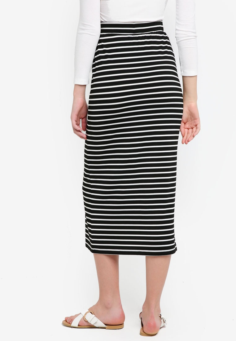White BASICS Stripe Basic Black Midi Skirt ZALORA gAXwOqX