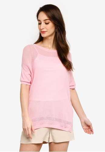Hopeshow pink Knitted Blouse with Inner Tank Top FE576AAE49797FGS_1