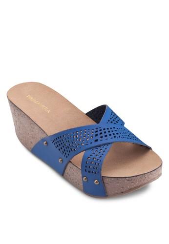 CRS 沖孔交叉帶楔型涼鞋, 女鞋zalora 內衣, 鞋