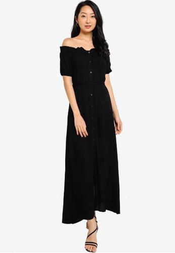 ZALORA BASICS black Off Shoulder Maxi Dress With Self Tie DCC18AA195C25CGS_1
