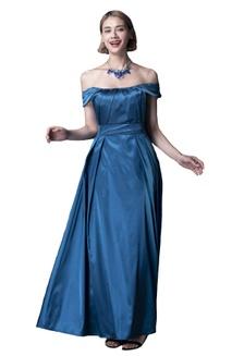 312d68ea1dc Off the Shoulder Pleated Full Skirt Satin Dress B82BBAAA3D0E16GS 1