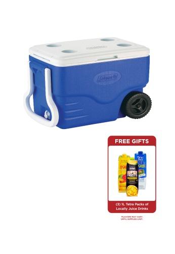 Coleman blue 40 Quart Insulated Cooler with Wheels 9E2D5HLF62F1C3GS_1