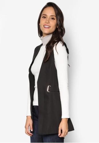 扣環腰帶無袖外套、 服飾、 夾克 & 大衣INDIKAH扣環腰帶無袖外套最新折價