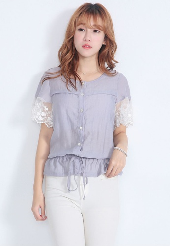 Yoco grey Embroidered Orgnaza Blouse 54890AAFF3C594GS_1