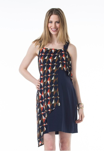Bove by Spring Maternity blue Woven Sleeveless Claudie Overlap Strap Dress Navy Print A3D40AACF3E494GS_1