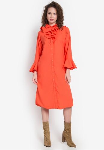 Chloe Edit orange B/D Long Dress W/ Ruffles CH672AA0KGM6PH_1