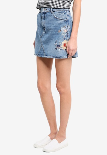 Mango blue Floral Embroidery Denim Skirt A0720AA4C9E43EGS_1