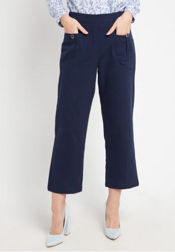 novel.mice navy Folded Buttom Slim Pants 6CE1FAA3E192F8GS_1