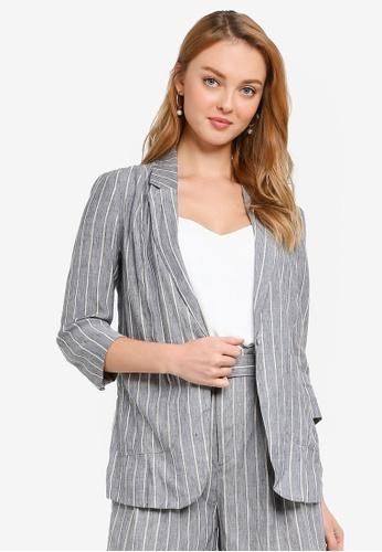 Hopeshow grey Single Breasted Striped Linen Blazer 43AE8AA49C7EBDGS_1
