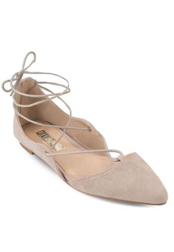 Sapphireesprit 中文 尖頭繫帶平底鞋, 女鞋, 鞋