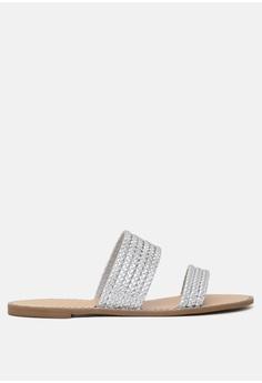 dbcebc23335e London Rag silver Flat Sandal with Weaved Straps 89132SH33EDA9EGS 1